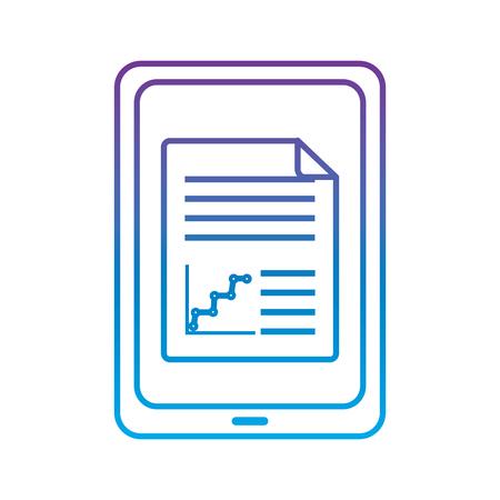 画面上のグラフチャートを持つタブレットガジェットデバイスアイコン画像ベクトルイラストデザイン紫から青いオンブレ線
