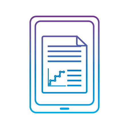 tablet with graph chart on screen gadget device icon image vector illustration design  purple to blue ombre line