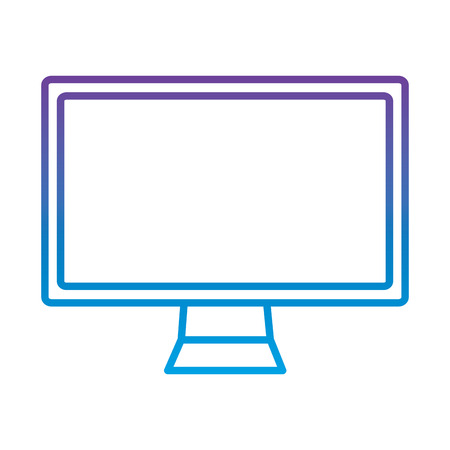computer monitor icon image vector illustration design  purple to blue ombre line Illustration