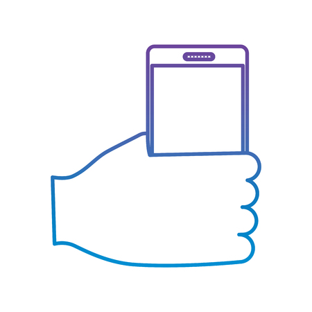 hand holding smartphone device wireless vector illustration outline color image