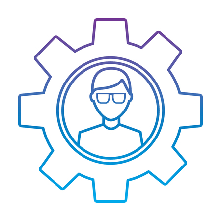 avatar with glasses inside gear setting technology vector illustration outline color image