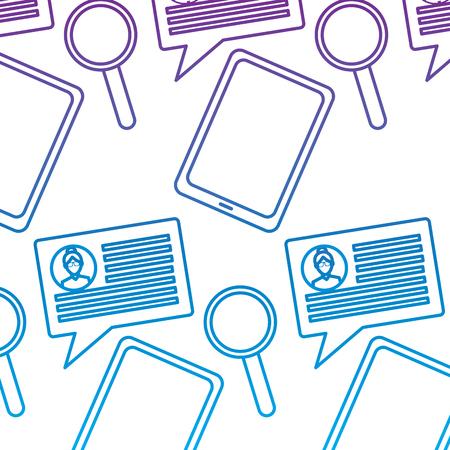 tablet speech bubble magnifier internet technology pattern vector illustration outline color image