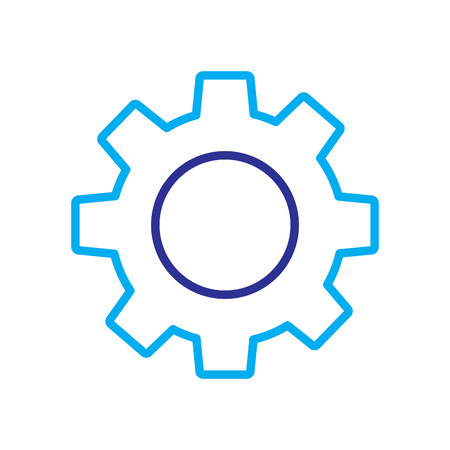 technical gear setting technology icon vector illustration blue purple line image