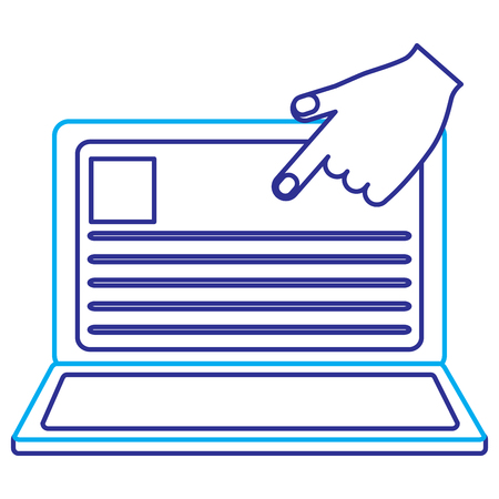laptop with hand pointing website internet vector illustration blue purple line image