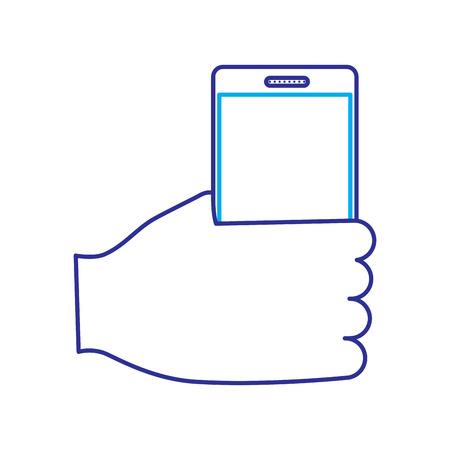hand holding smartphone device wireless vector illustration blue purple line image Illustration