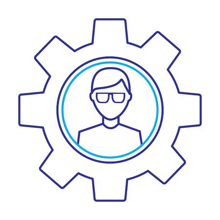 ギア設定技術アウトライン画像ブルーパープルライン画像内のメガネ付きアバター