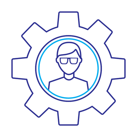 avatar with glasses inside gear setting technology outline image blue purple line image Illustration