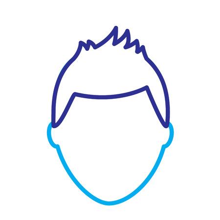 デフォルトの男性アバター男性プロフィール画像アイコンベクトルイラスト青紫色の線画像