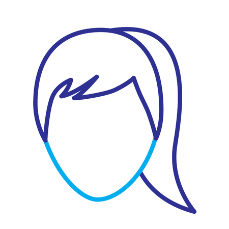 faceless woman profile avatar character vector illustration blue purple line image