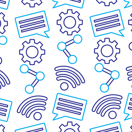 internet wireless share chat setting pattern vector illustration
