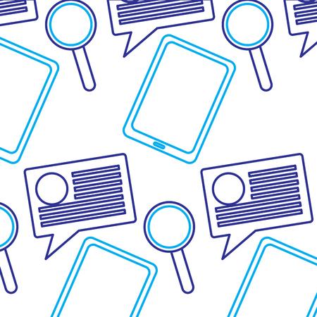 태블릿 연설 거품 돋보기 인터넷 기술 패턴 벡터 일러스트 레이션