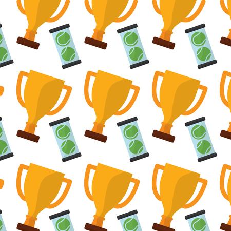 trofee met ontwerp van de het beeld het vectorillustratie van tennisballenpatroon Stock Illustratie