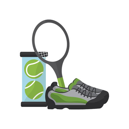 tennis balls sneakers racquet  icon image vector illustration design