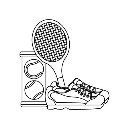 tennis balls sneakers racquet  icon image vector illustration design