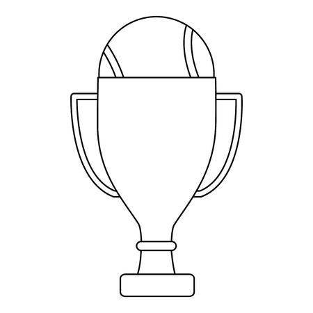 trofee met tennisbal pictogram afbeelding vector illustratie ontwerp