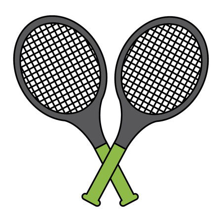tennis racquets crossed icon image vector illustration design