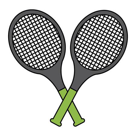 tennisracketten gekruist pictogram afbeelding vector illustratie ontwerp Stock Illustratie