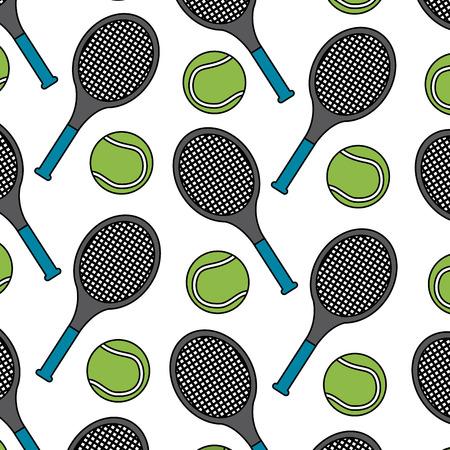 테니스 라켓 및 공 패턴 이미지 벡터 일러스트 레이 션 디자인