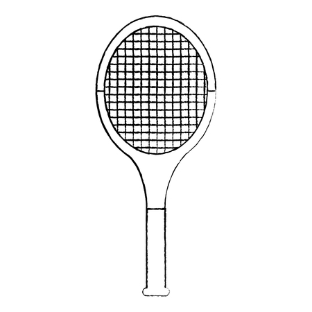 tennis racquet icon image vector illustration design  black sketch line Ilustração