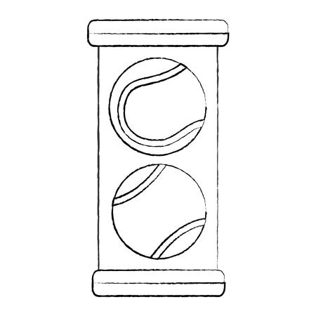 tennis balls pack icon image vector illustration design  black sketch line Ilustração