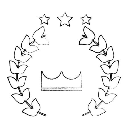 crown laurel wreath stars winner emblem image vector illustration design  black sketch line
