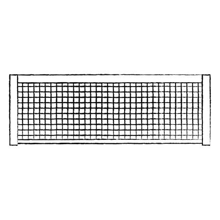 テニスネットアイコン画像ベクトルイラストデザイン 黒スケッチライン  イラスト・ベクター素材