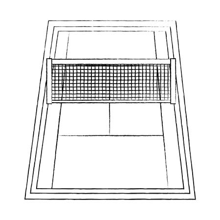 Tennisplatzikonenbildvektor-Illustrationsdesignschwarz-Skizzenlinie Standard-Bild - 92186313