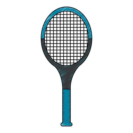 tennisracket pictogram afbeelding vector illustratie ontwerp schets stijl Stock Illustratie