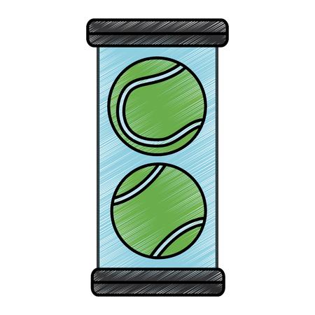 tennisballen pack pictogram afbeelding vector illustratie ontwerp schets stijl
