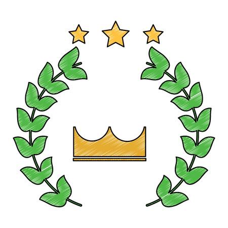 crown laurel wreath stars winner emblem image vector illustration design  sketch style