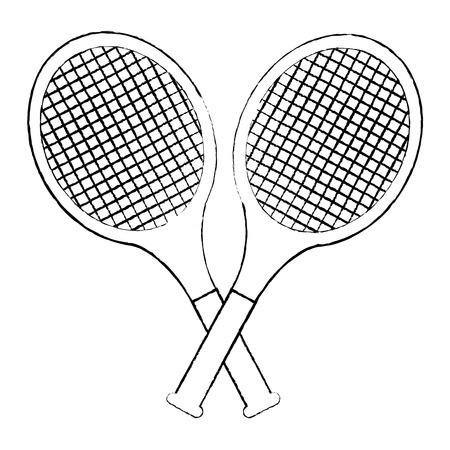 tennisracketten gekruist pictogram afbeelding vector illustratie ontwerp zwarte schets lijn Stock Illustratie