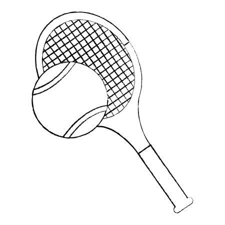 tennis racquet and ball icon image vector illustration design  black sketch line