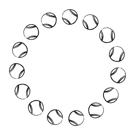 tennisballen cirkel embleem afbeelding vector illustratie ontwerp zwarte schets lijn