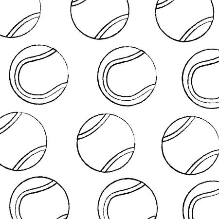 tennisbal patroon afbeelding vector illustratie ontwerp zwarte schets lijn Stock Illustratie