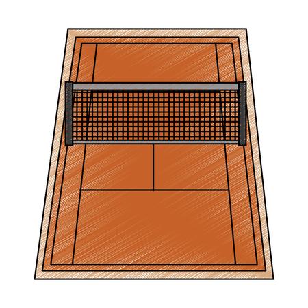 tennisbaan pictogram afbeelding vector illustratie ontwerp schets stijl Stock Illustratie