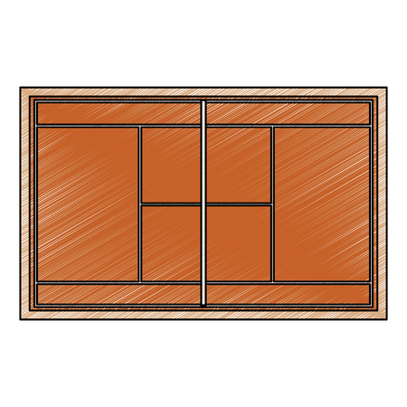 tennis court topview   icon image vector illustration design  sketch style