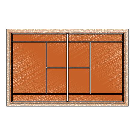 tennisbaan topview pictogram afbeelding vector illustratie ontwerp schets stijl
