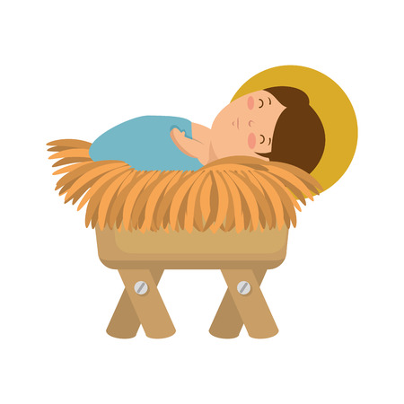cute jesus baby in cradle vector illustration design
