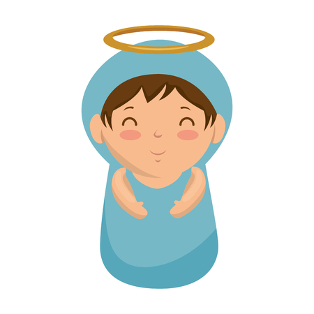 cute virgin mary character vector illustration design