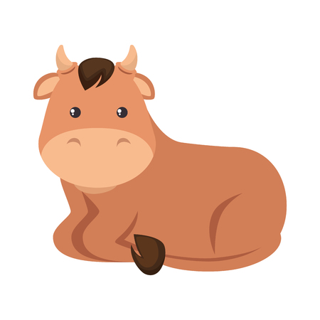 Cute ox character icon illustration design.