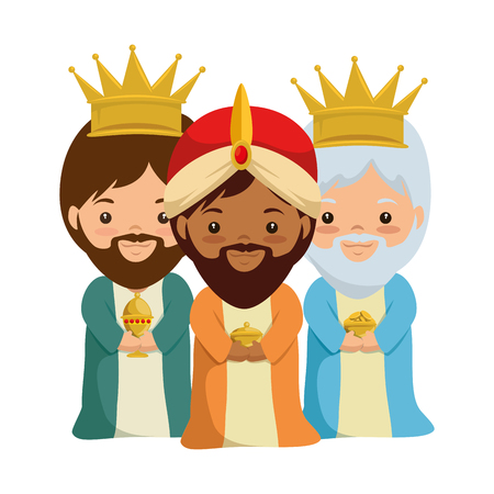 Cute kings wizards christmas avatars illustration design.