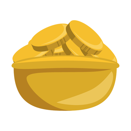 Coins in bowl isolated icon illustration design.