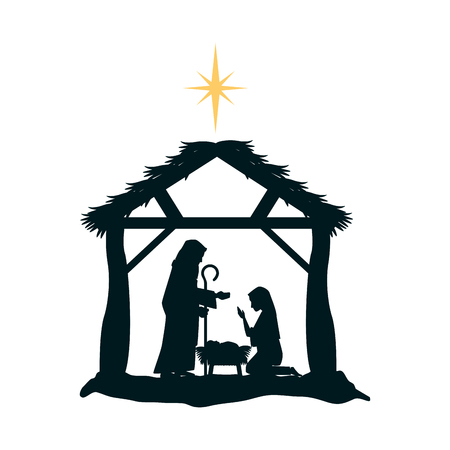 Holy family silhouette in stable christmas characters illustration design.