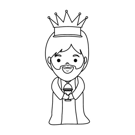 Cute king wizard christmas avatar illustration design.