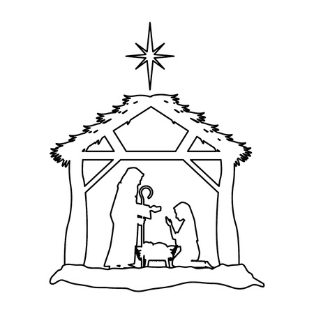 Holy family silhouette in stable christmas characters illustration design