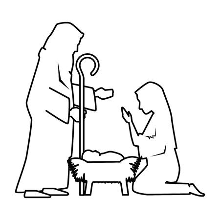 Święta rodzina sylwetka ilustracja bożego narodzenia znaków projekt