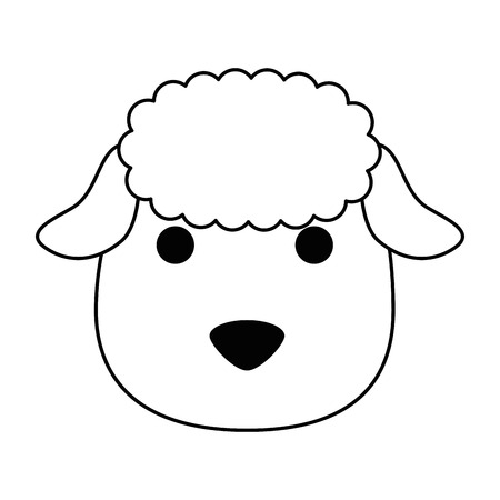 Cute sheep head character icon illustration design Illustration