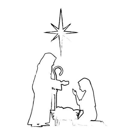 聖なる家族のシルエットクリスマスキャラクターベクトルイラストデザイン