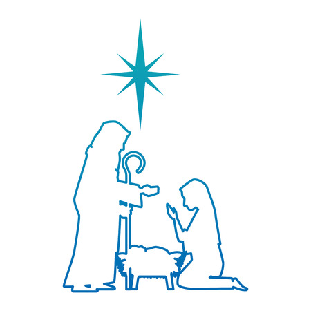 holy family silhouette christmas characters vector illustration design