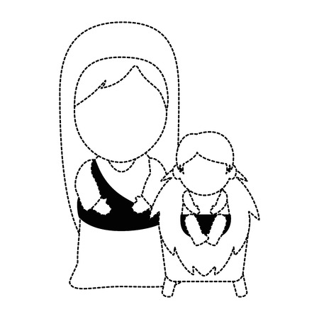 cute virgin mary with jesus baby characters vector illustration design